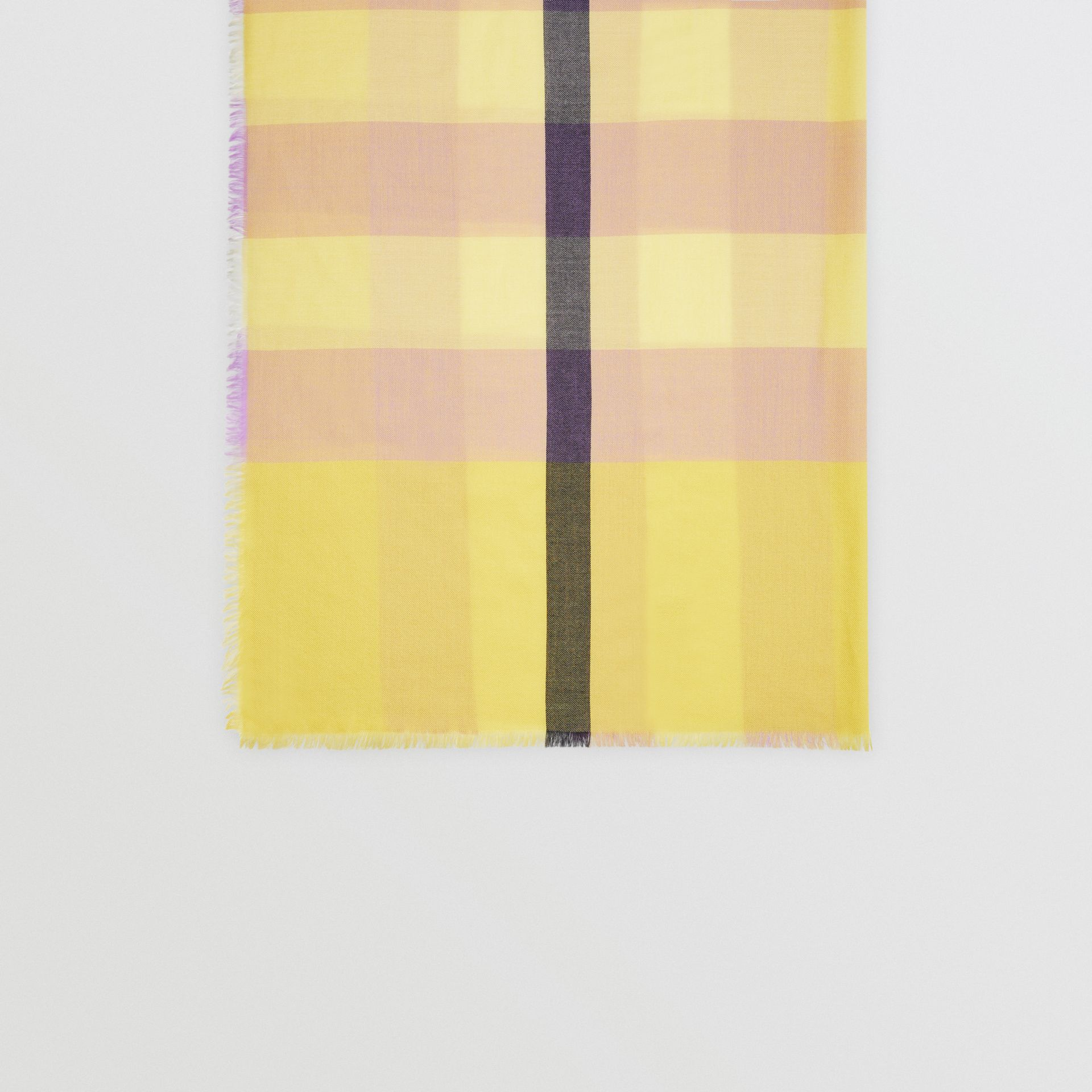 Lightweight Check Cashmere Scarf in Dusty Citrine | Burberry United States - gallery image 4