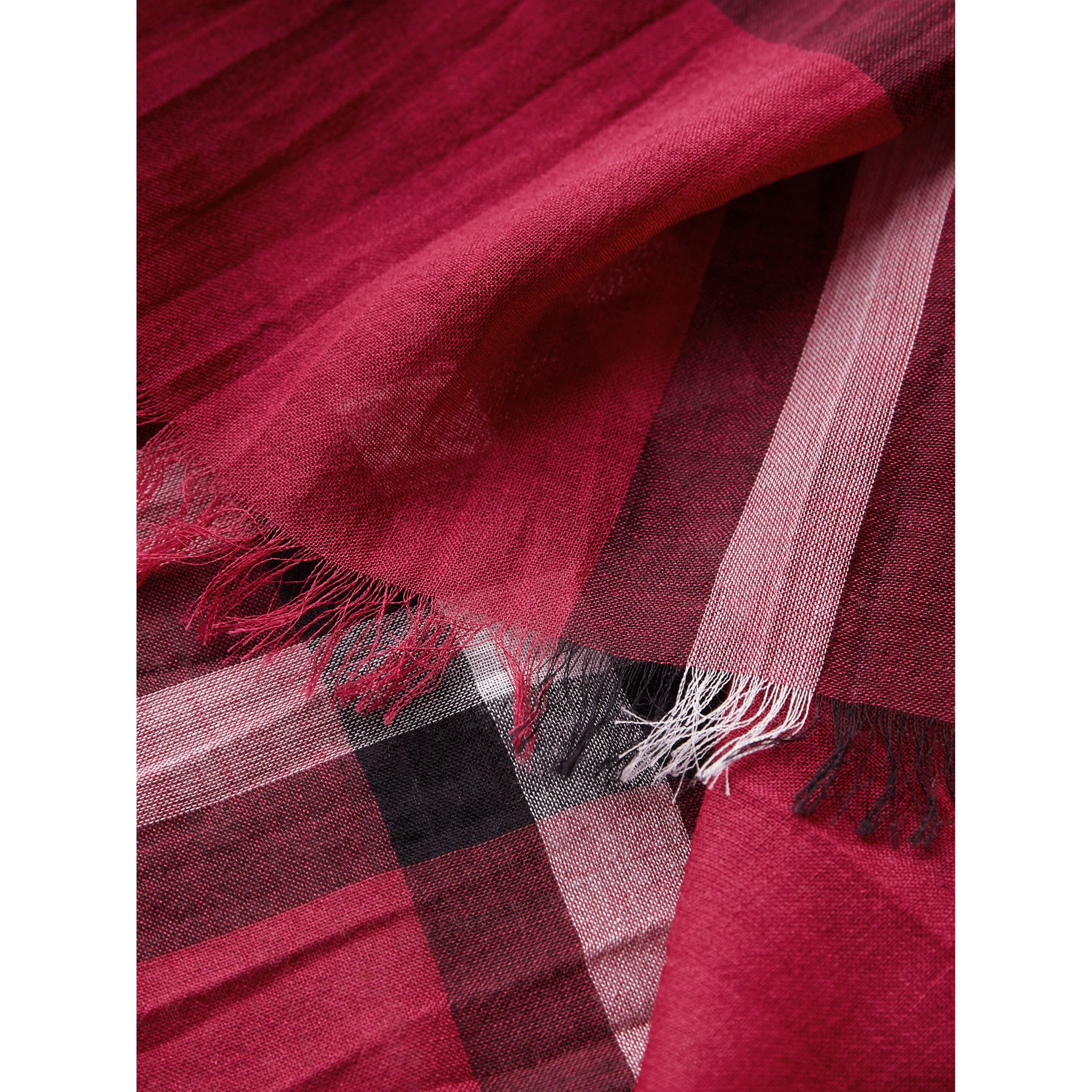 Lightweight Check Wool and Silk Scarf in Fuchsia Pink | Burberry Singapore - gallery image 2
