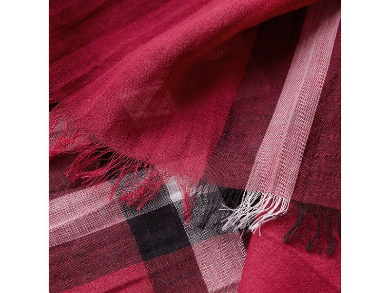 Lightweight Check Wool and Silk Scarf in Fuchsia Pink | Burberry - cell image 1