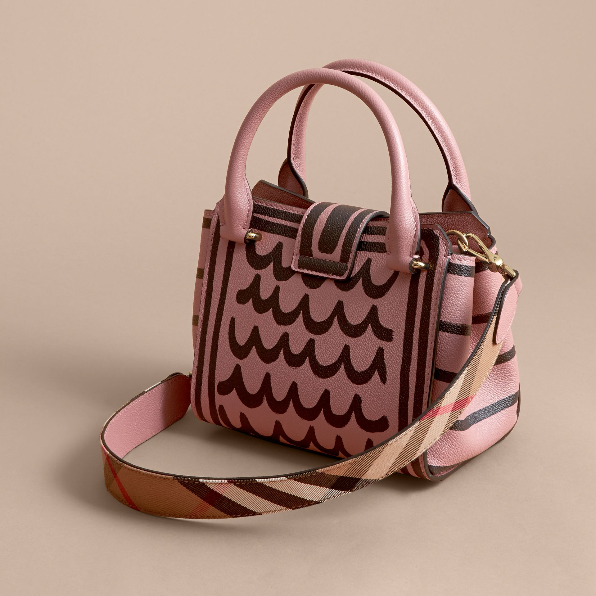The Small Buckle Tote in Trompe L'oeil Print Leather - Women | Burberry - gallery image 5