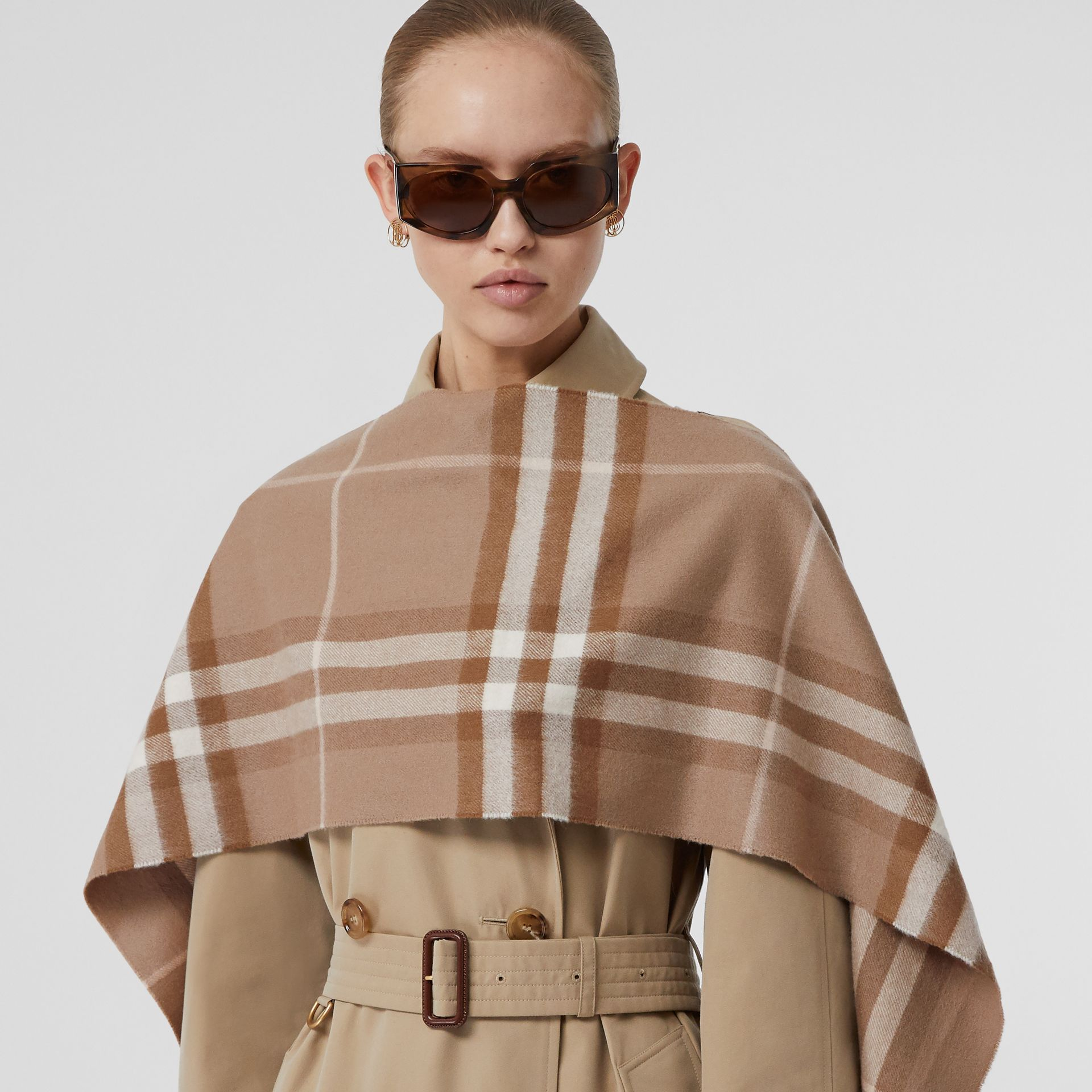 The Classic Check Cashmere Scarf in Warm Taupe | Burberry - gallery image 2