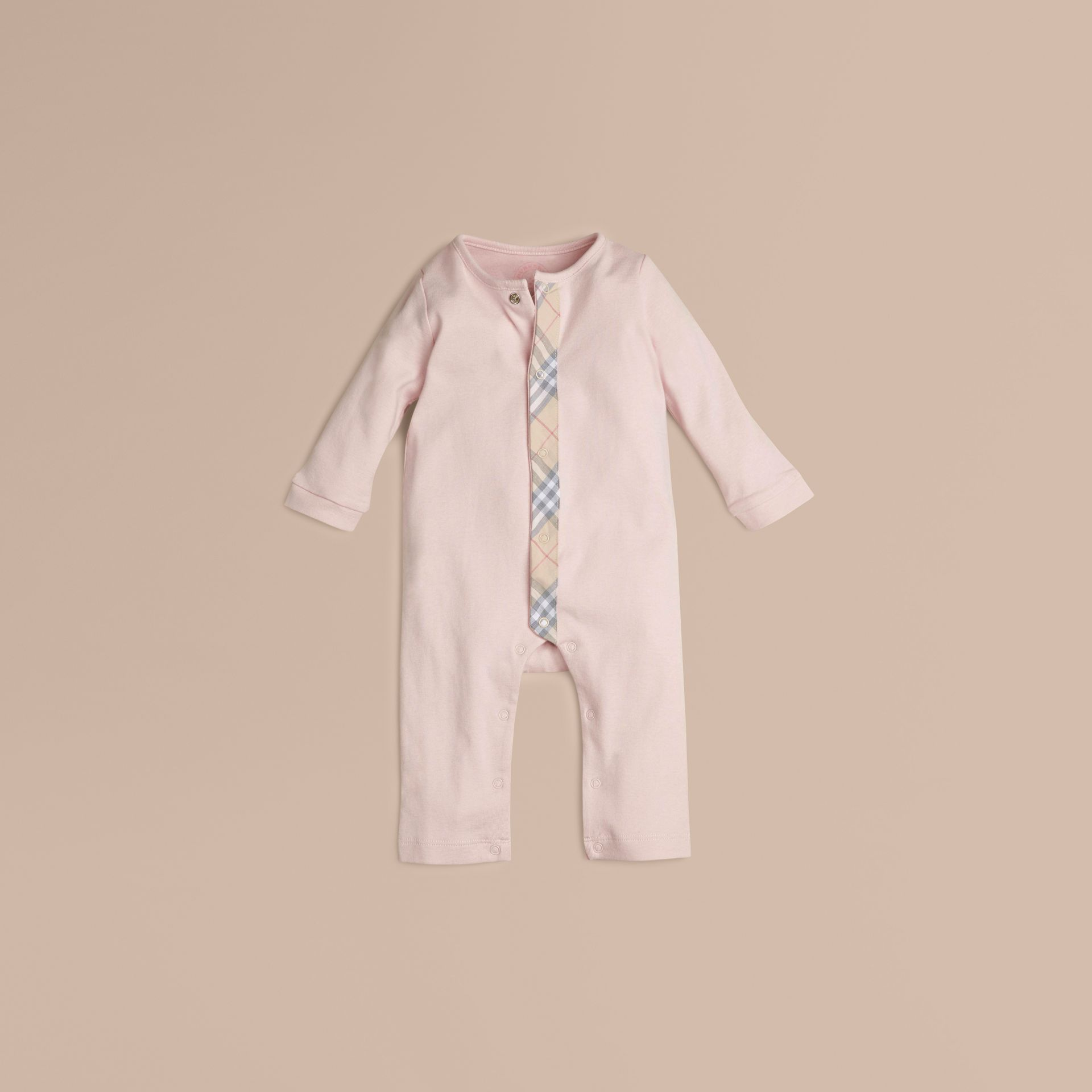 Check Trim Cotton Jumpsuit in Powder Pink | Burberry - gallery image 1