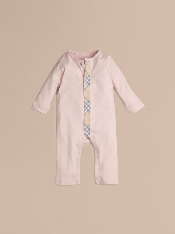 Check Trim Cotton Jumpsuit in Powder Pink