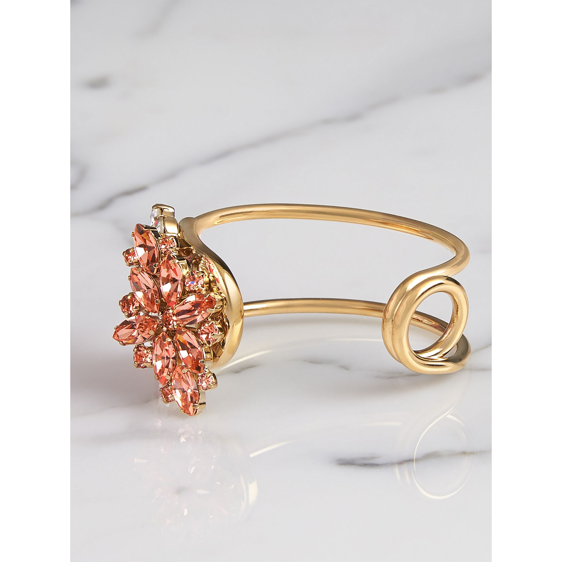 Crystal Daisy Brass Cuff in Coral Pink - Women | Burberry - gallery image 3