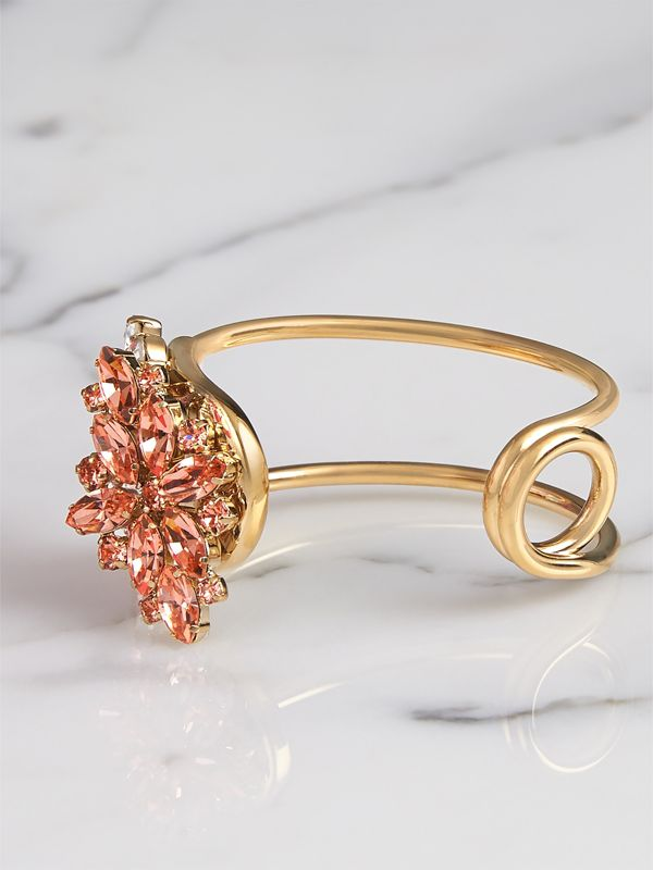Crystal Daisy Brass Cuff in Coral Pink - Women | Burberry - cell image 3