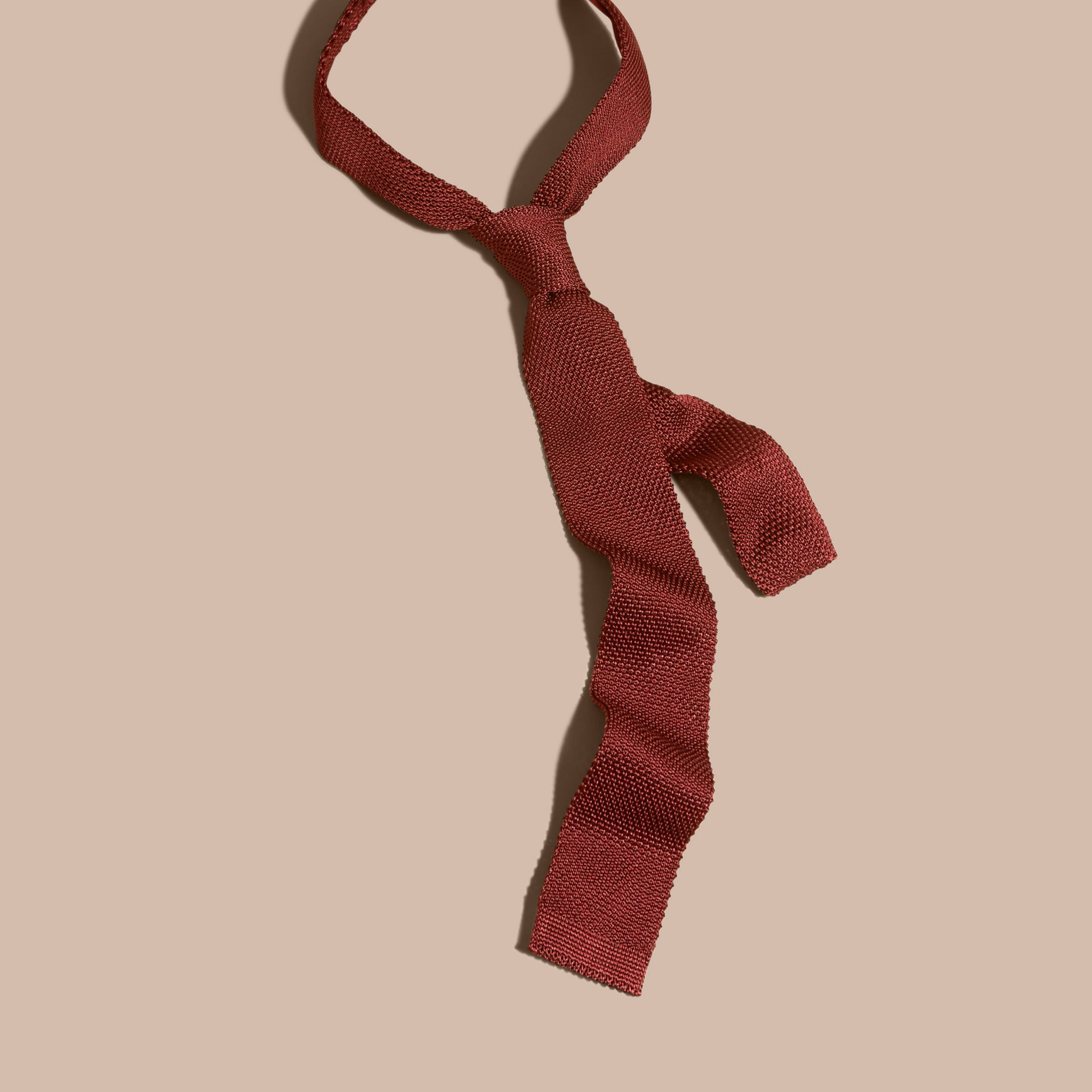 Deep red Slim Cut Knitted Silk Tie Deep Red - gallery image 3