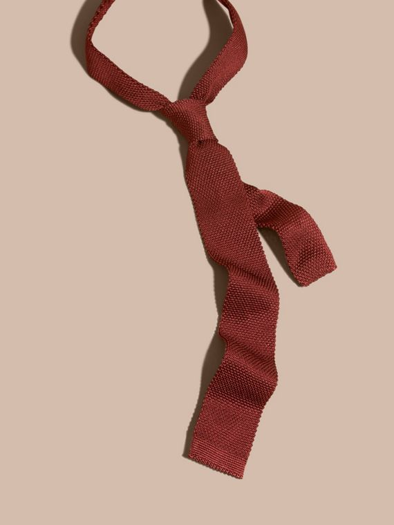 Deep red Slim Cut Knitted Silk Tie Deep Red - cell image 3