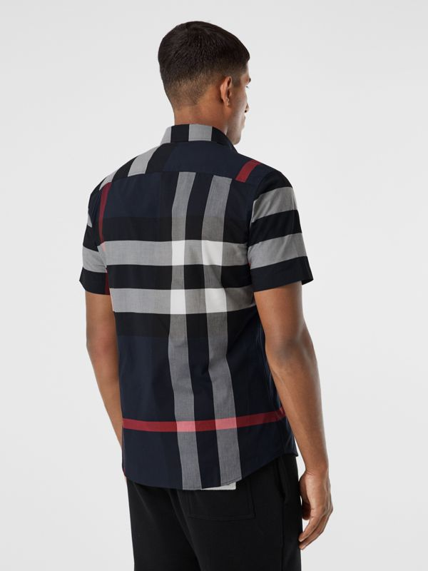 Short-sleeve Check Stretch Cotton Poplin Shirt in Navy - Men | Burberry - cell image 2