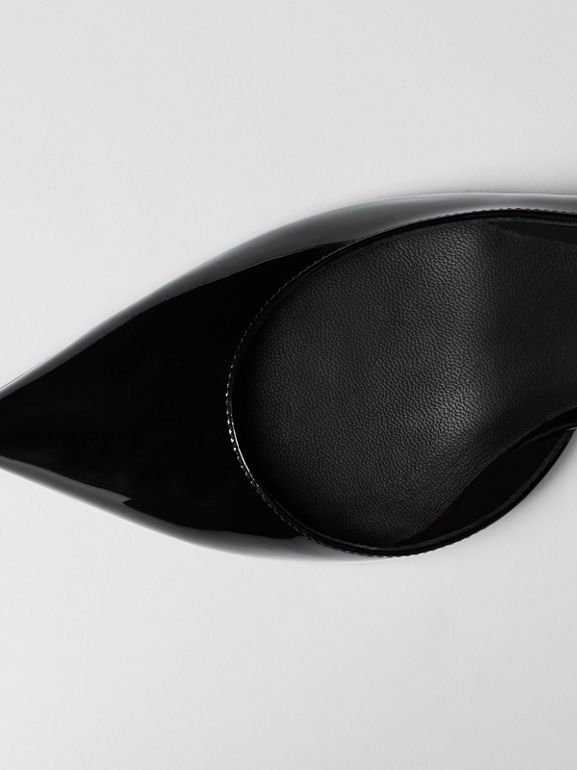 Décolleté slingback in pelle con catenella (Nero) - Donna | Burberry - cell image 1