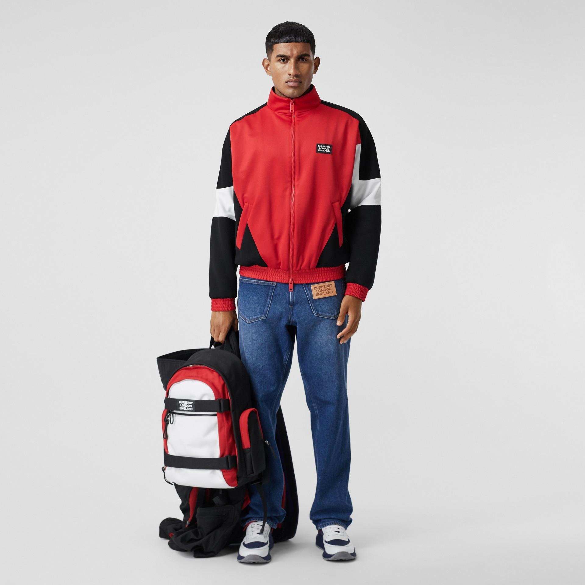 Veste de survêtement en jersey et néoprène avec logo appliqué (Rouge Vif) - Homme | Burberry - photo de la galerie 0