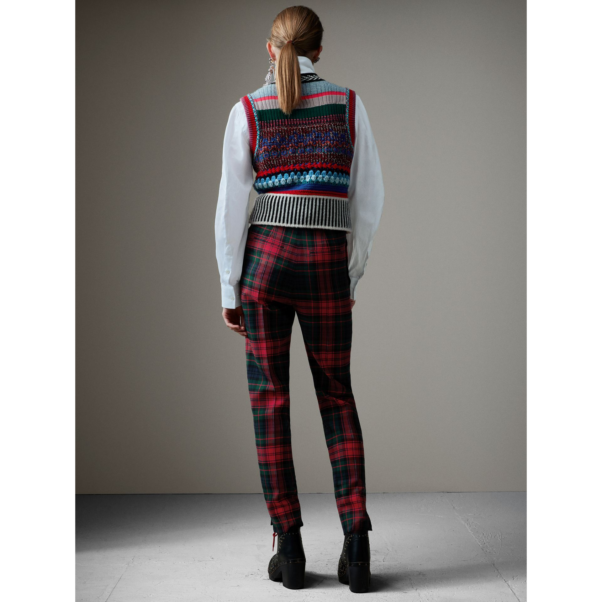 Tartan Wool High-waisted Trousers in Bright Red - Women | Burberry - gallery image 3