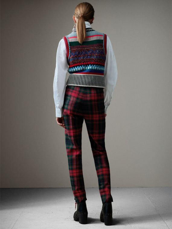 Tartan Wool High-waisted Trousers in Bright Red - Women | Burberry United States - cell image 2