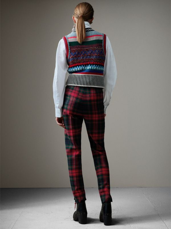 Tartan Wool High-waisted Trousers in Bright Red - Women | Burberry - cell image 2