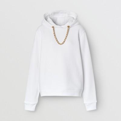 Sweat shirt à capuche oversize en coton avec chaîne (Blanc) Femme   Burberry