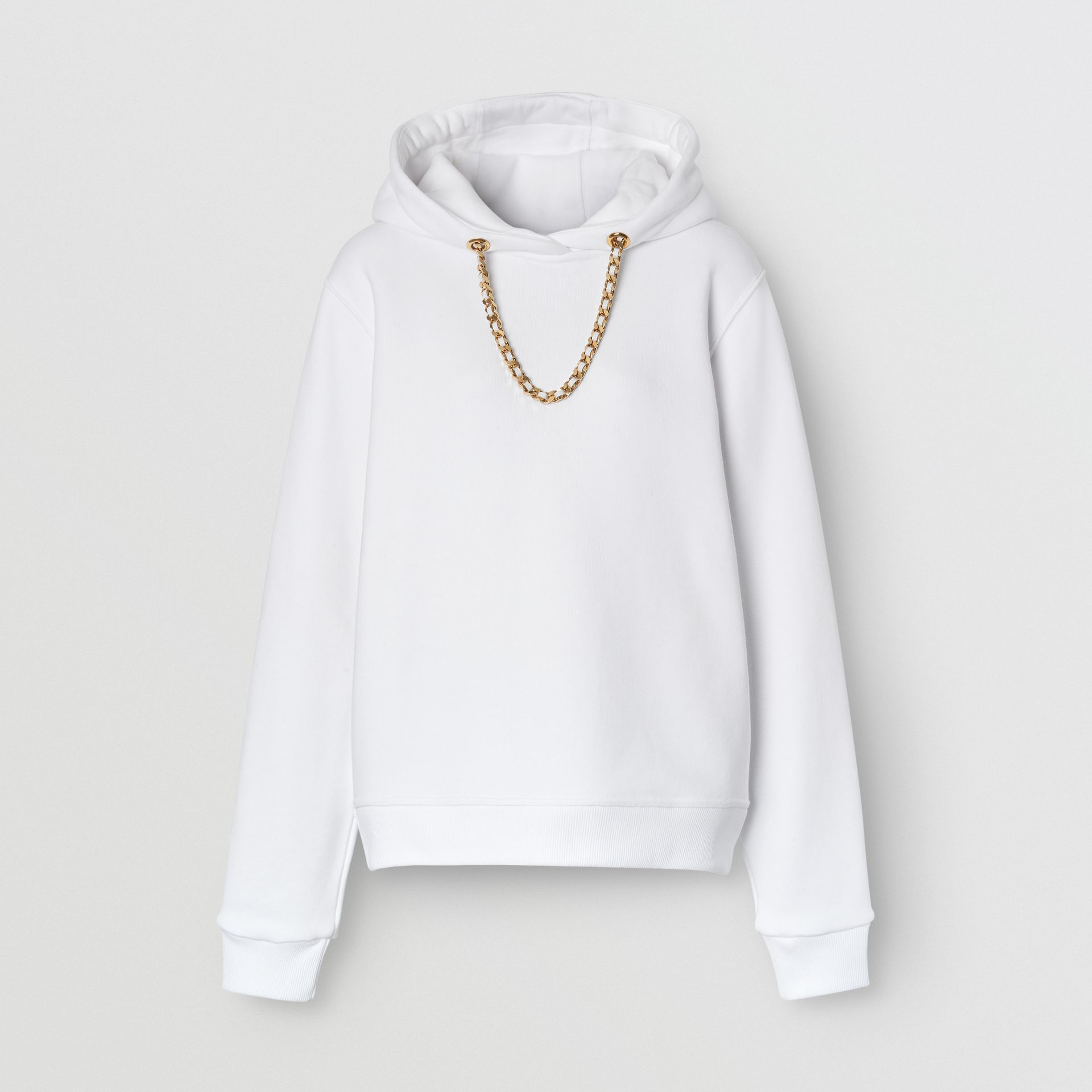 Chain Detail Cotton Oversized Hoodie in White - Women | Burberry - gallery image 3