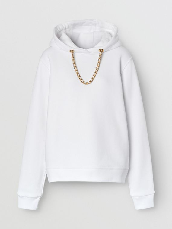 Chain Detail Cotton Oversized Hoodie in White