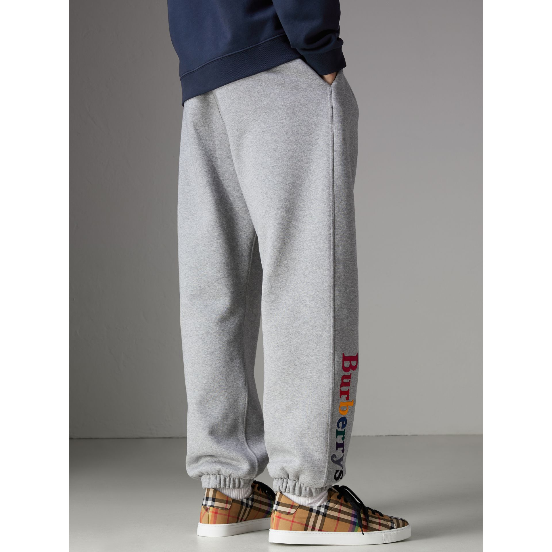 Archive Logo Jersey Sweatpants in Grey Melange - Men | Burberry Singapore - gallery image 2