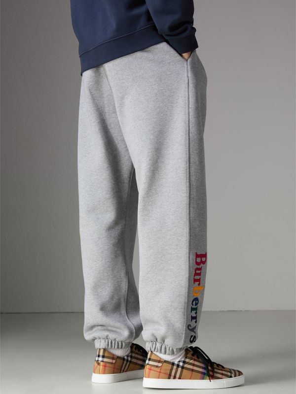 Archive Logo Jersey Sweatpants in Grey Melange - Men | Burberry Australia - cell image 2