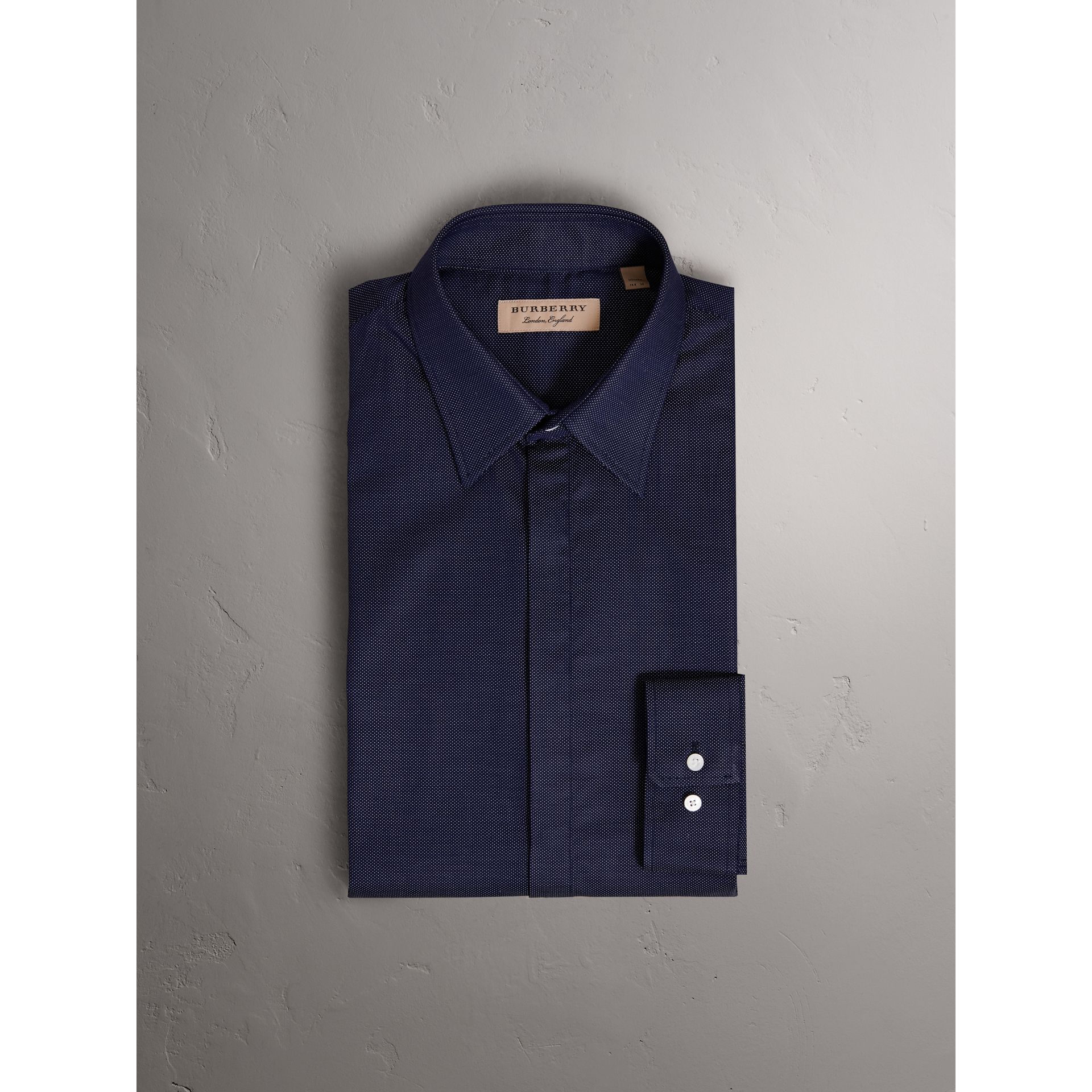 Modern Fit Pin Dot Dobby Cotton Shirt in Navy - Men | Burberry Australia - gallery image 4