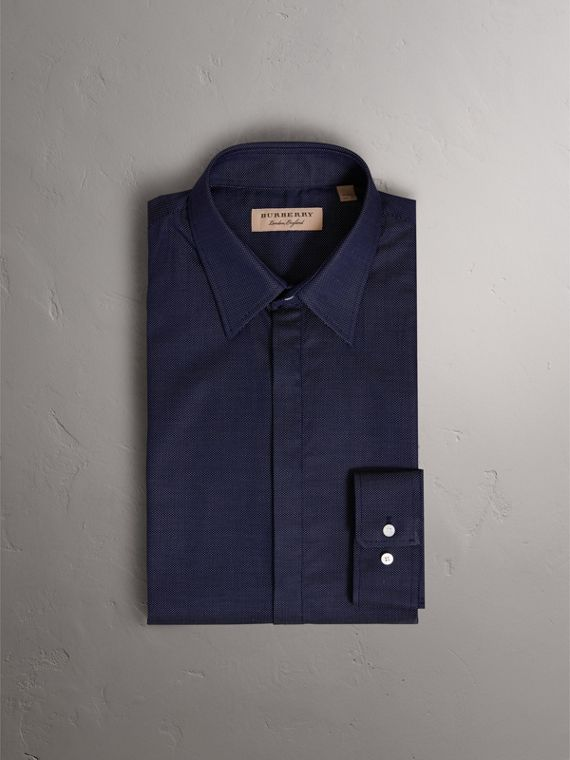 Modern Fit Pin Dot Dobby Cotton Shirt in Navy