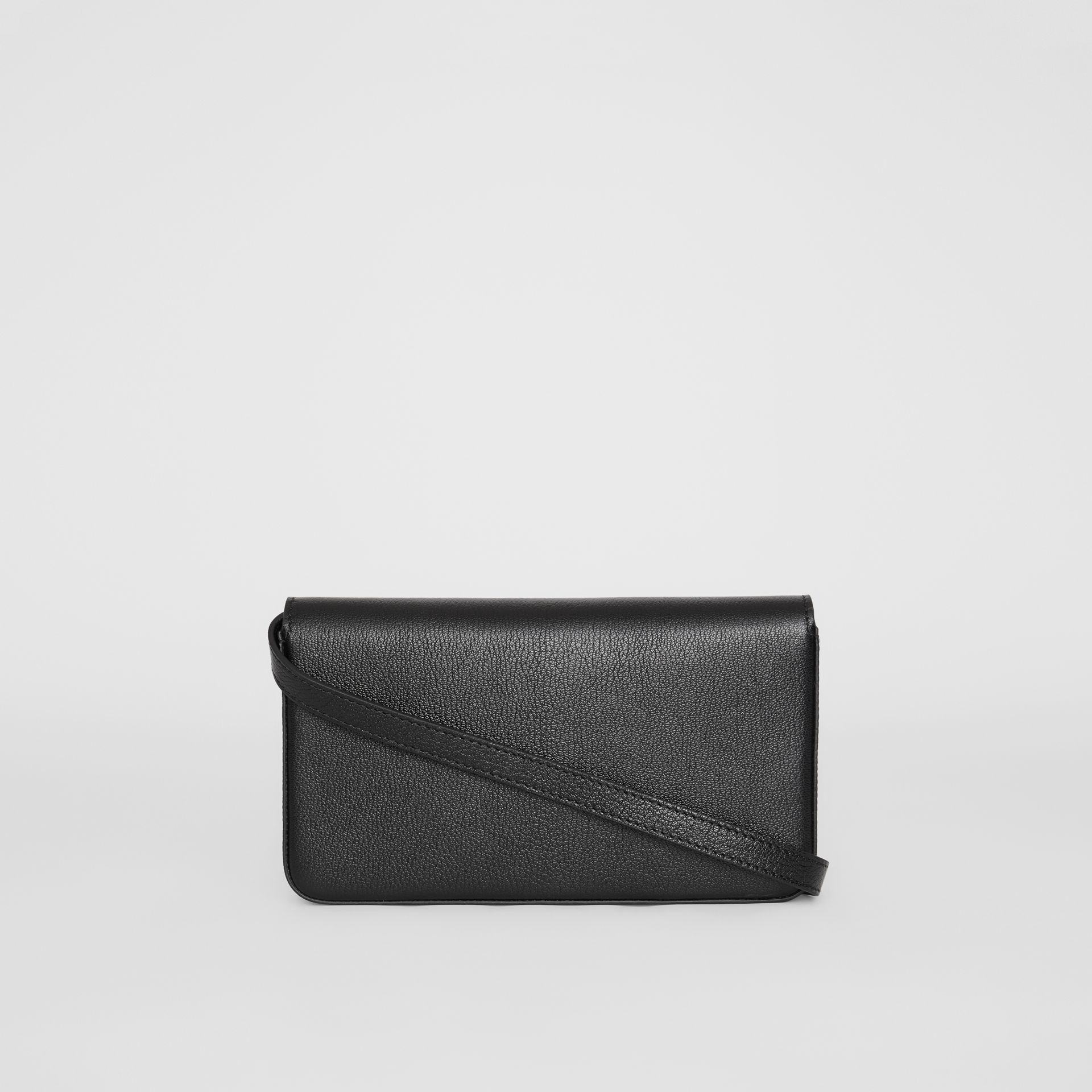 D-ring Leather Wallet with Detachable Strap in Black - Women | Burberry - gallery image 7