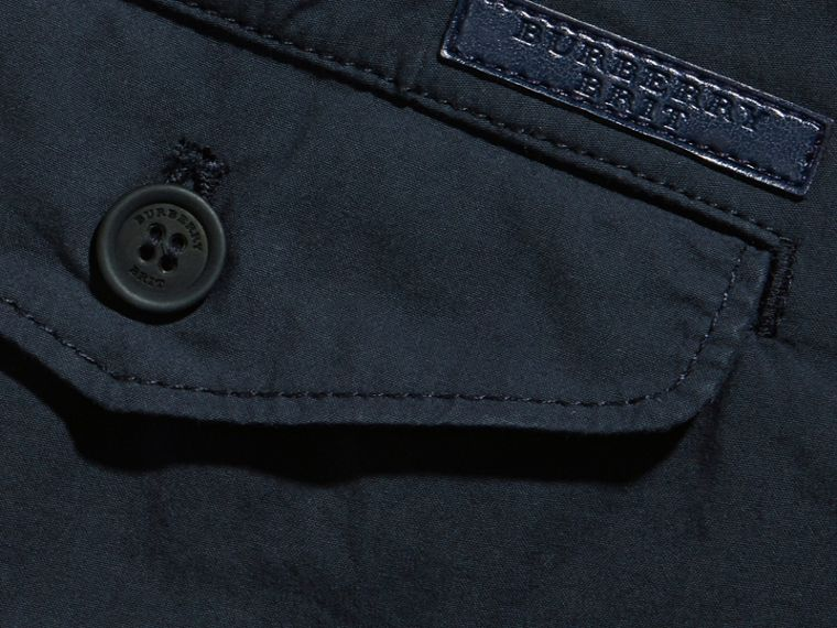 Slim Fit Cotton Poplin Chinos in Indigo - Men | Burberry - cell image 1