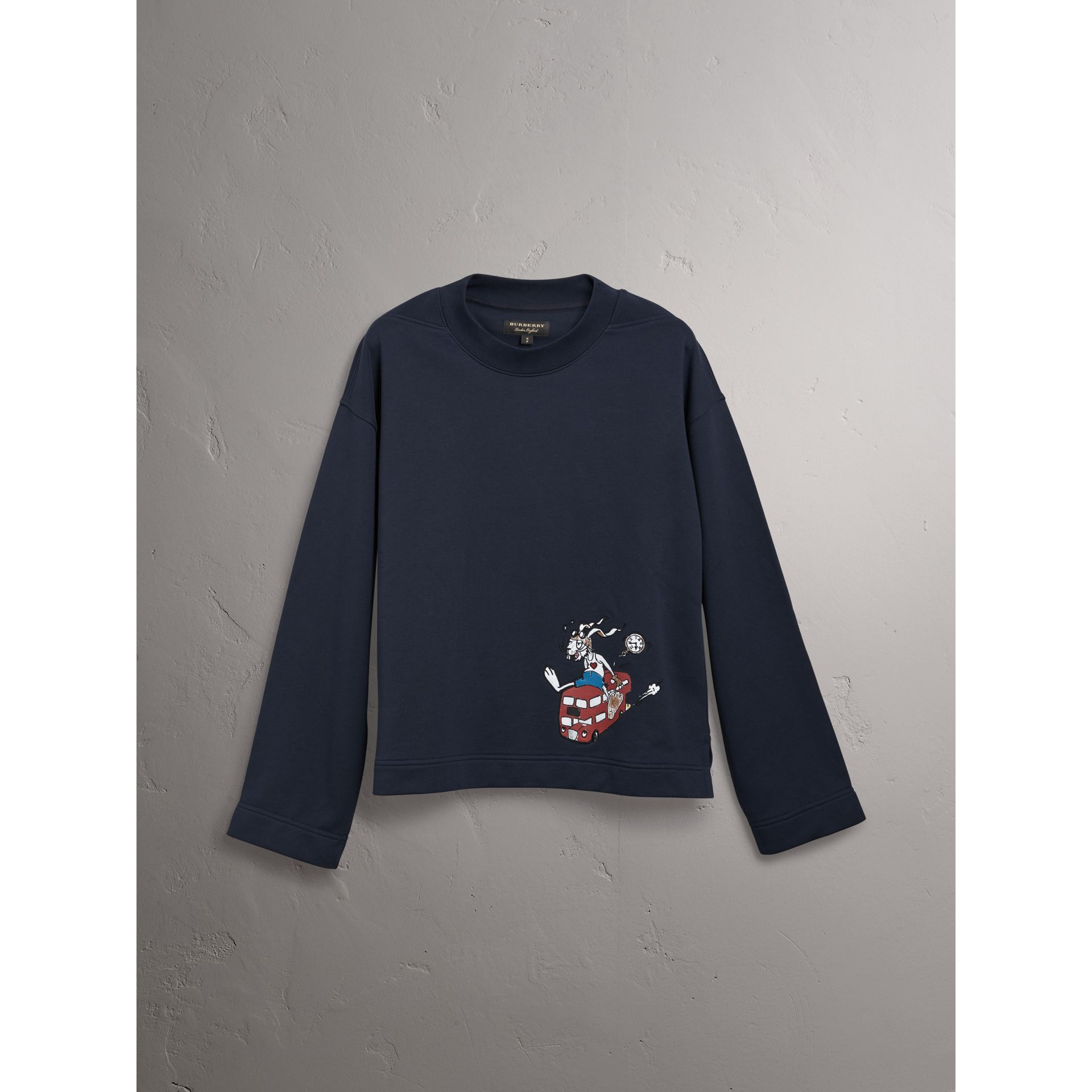 Sketch Print Cotton Jersey Sweatshirt in Navy - Men | Burberry Hong Kong - gallery image 3