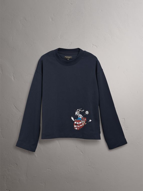 Sketch Print Cotton Jersey Sweatshirt in Navy - Men | Burberry Hong Kong - cell image 3