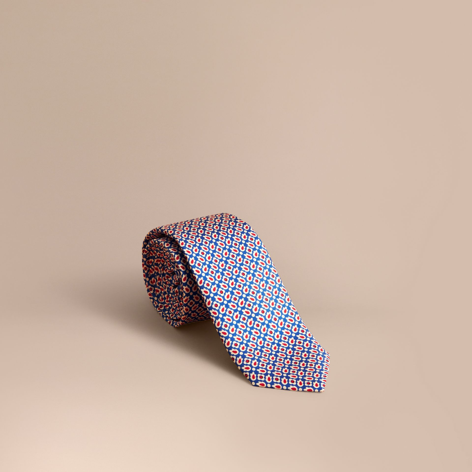 Slim Cut Abstract Floral Silk Tie in Pale Canvas Blue - Men | Burberry - gallery image 1