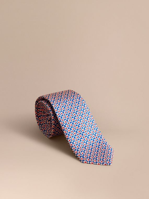 Slim Cut Abstract Floral Silk Tie in Pale Canvas Blue - Men | Burberry
