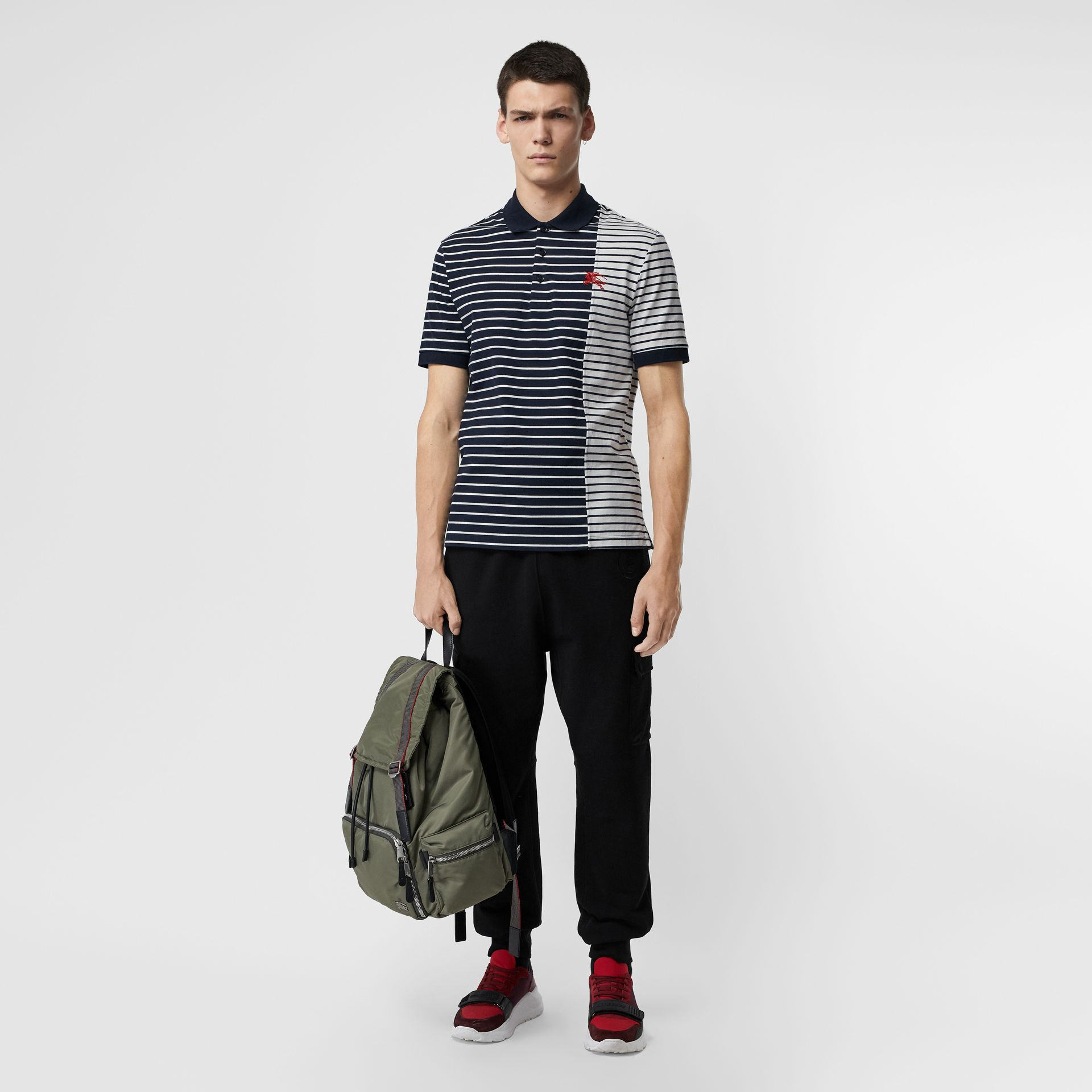 Contrast Stripe Cotton Polo Shirt in Bright Navy - Men | Burberry - gallery image 0