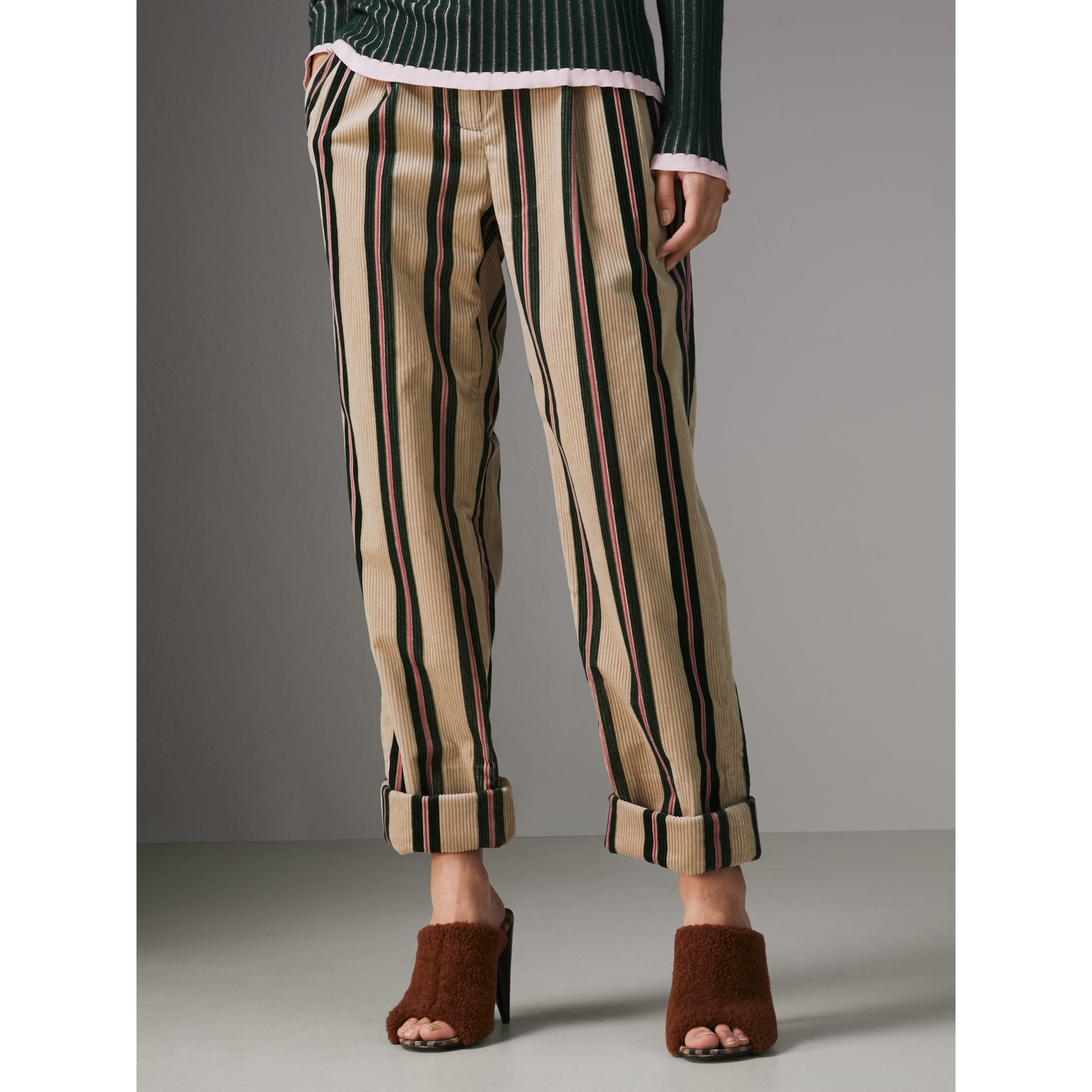 Roll-up Cuff Striped Corduroy Trousers in Stone - Women | Burberry - gallery image 3