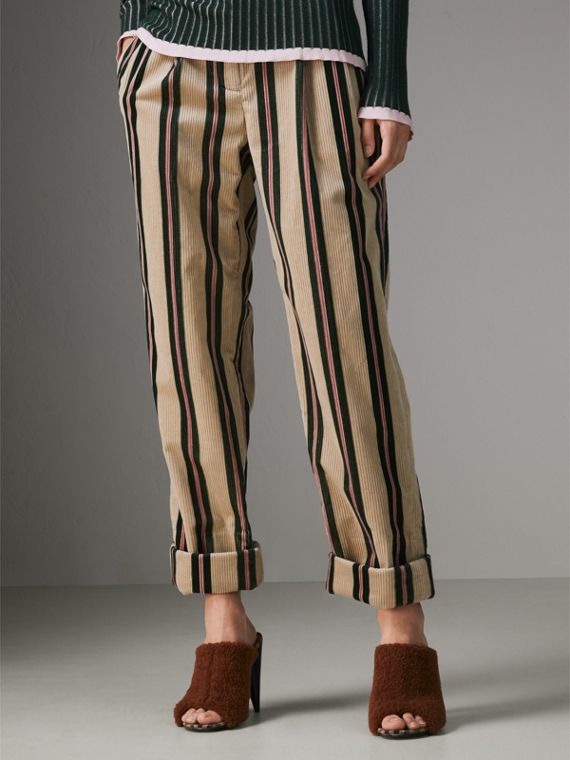 Roll-up Cuff Striped Corduroy Trousers in Stone - Women | Burberry - cell image 3