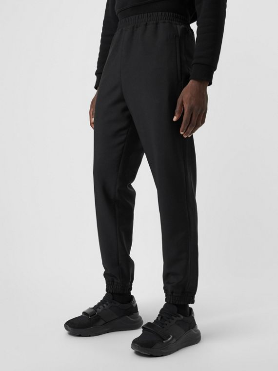 Wool Mohair Tapered Trousers in Black