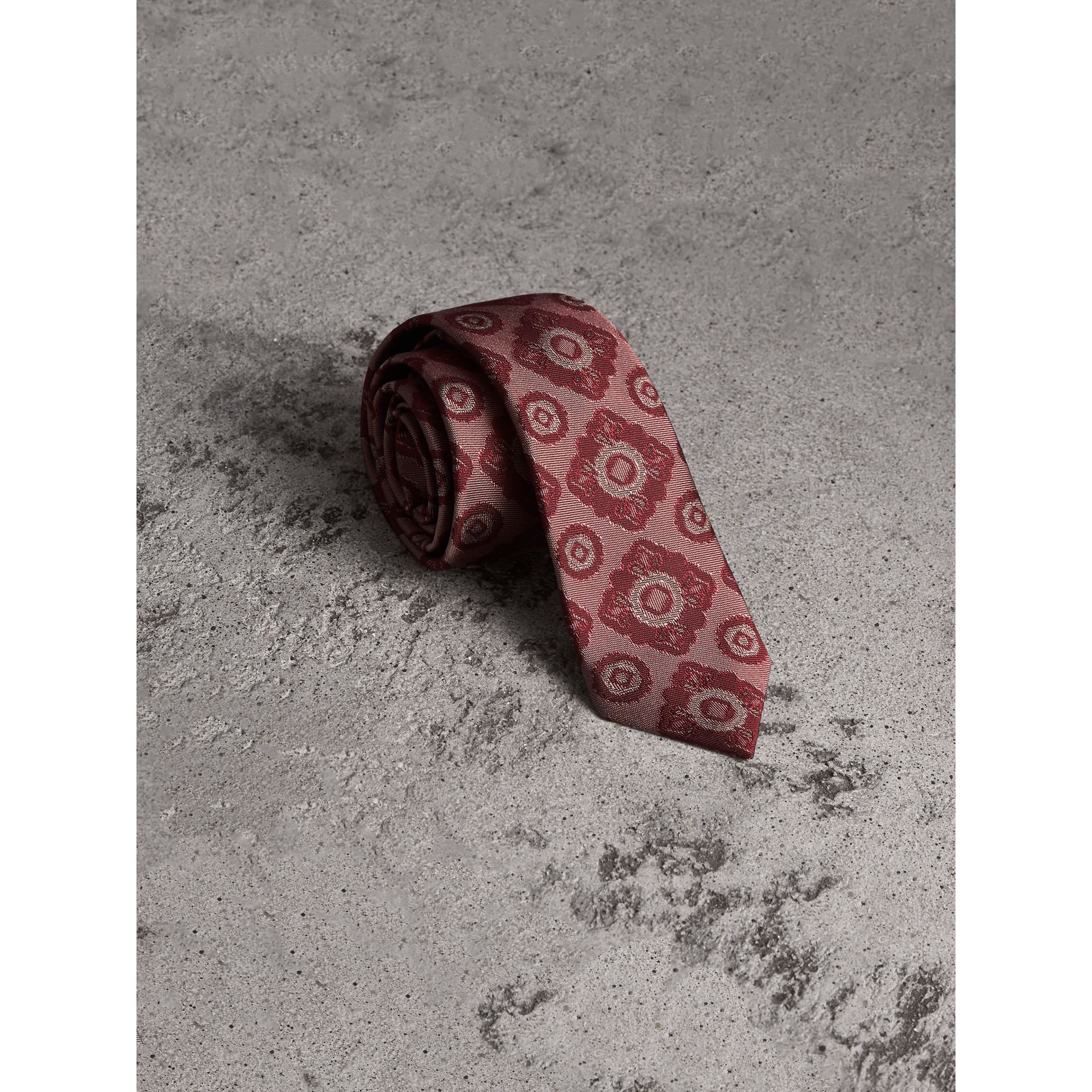 Slim Cut Tiled Floral Silk Jacquard Tie in Crimson Red - Men | Burberry - gallery image 0