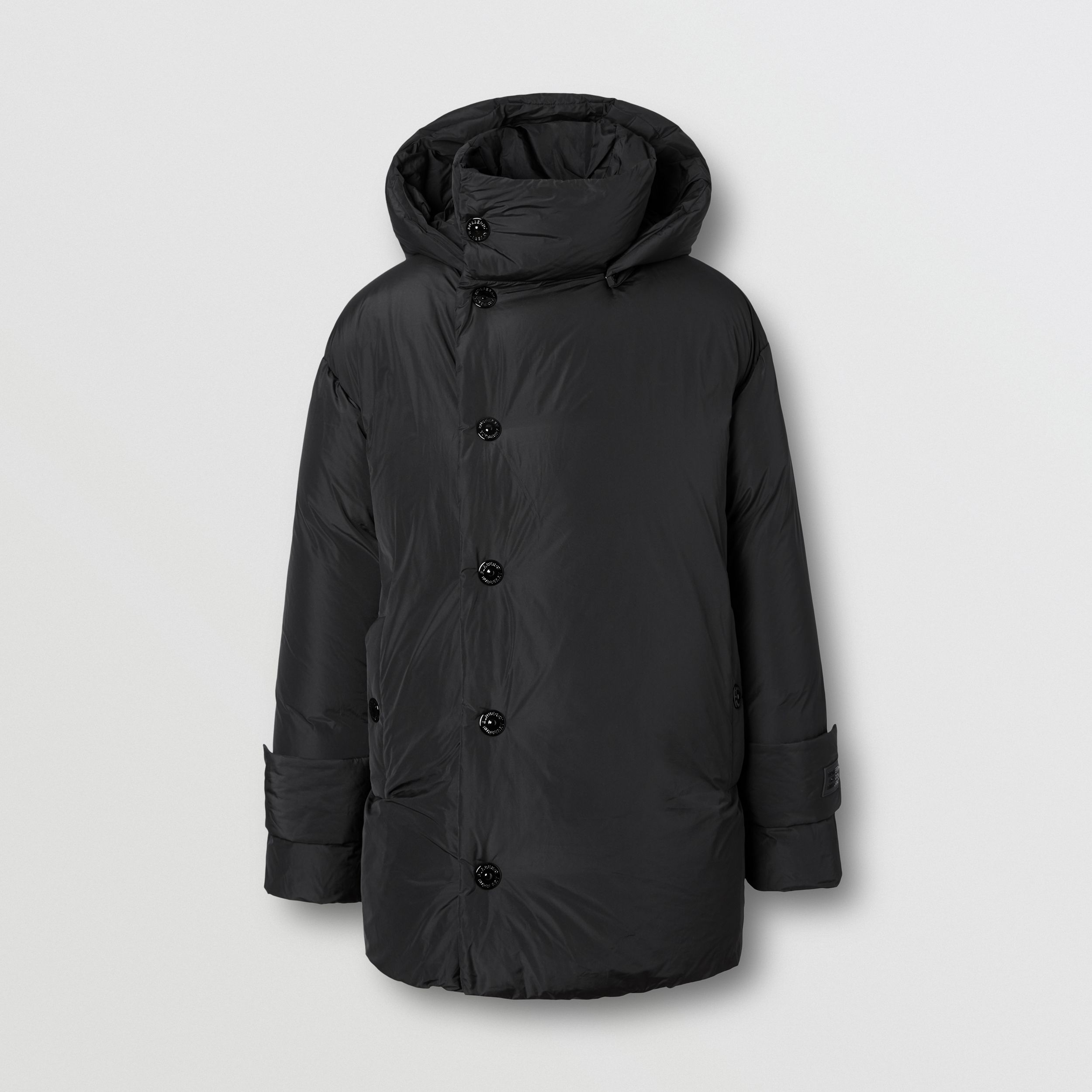Detachable Hood Down-filled Oversized Wrap Coat in Black - Men | Burberry United States - 4