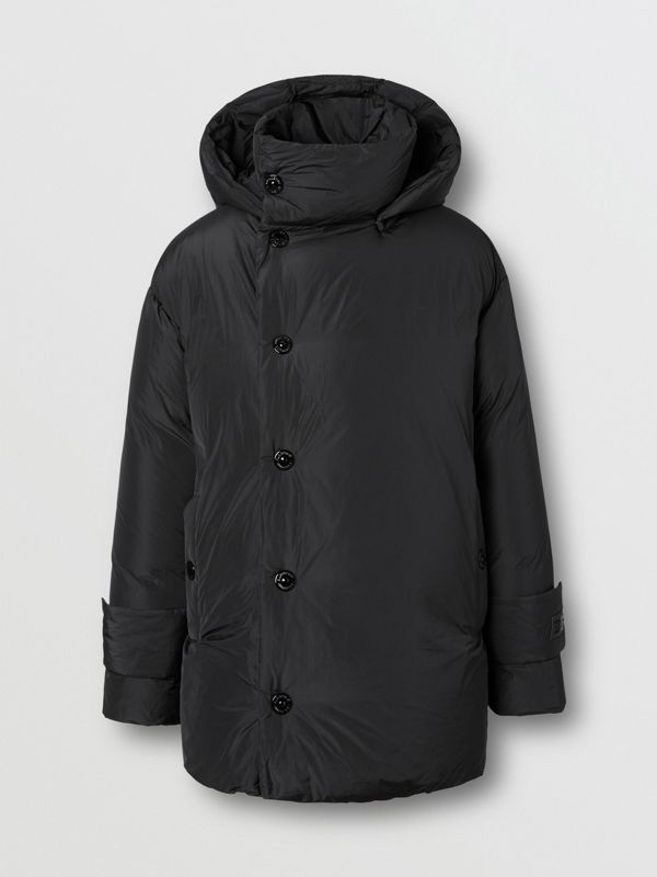 Detachable Hood Down-filled Oversized Wrap Coat in Black - Men | Burberry United Kingdom - cell image 3