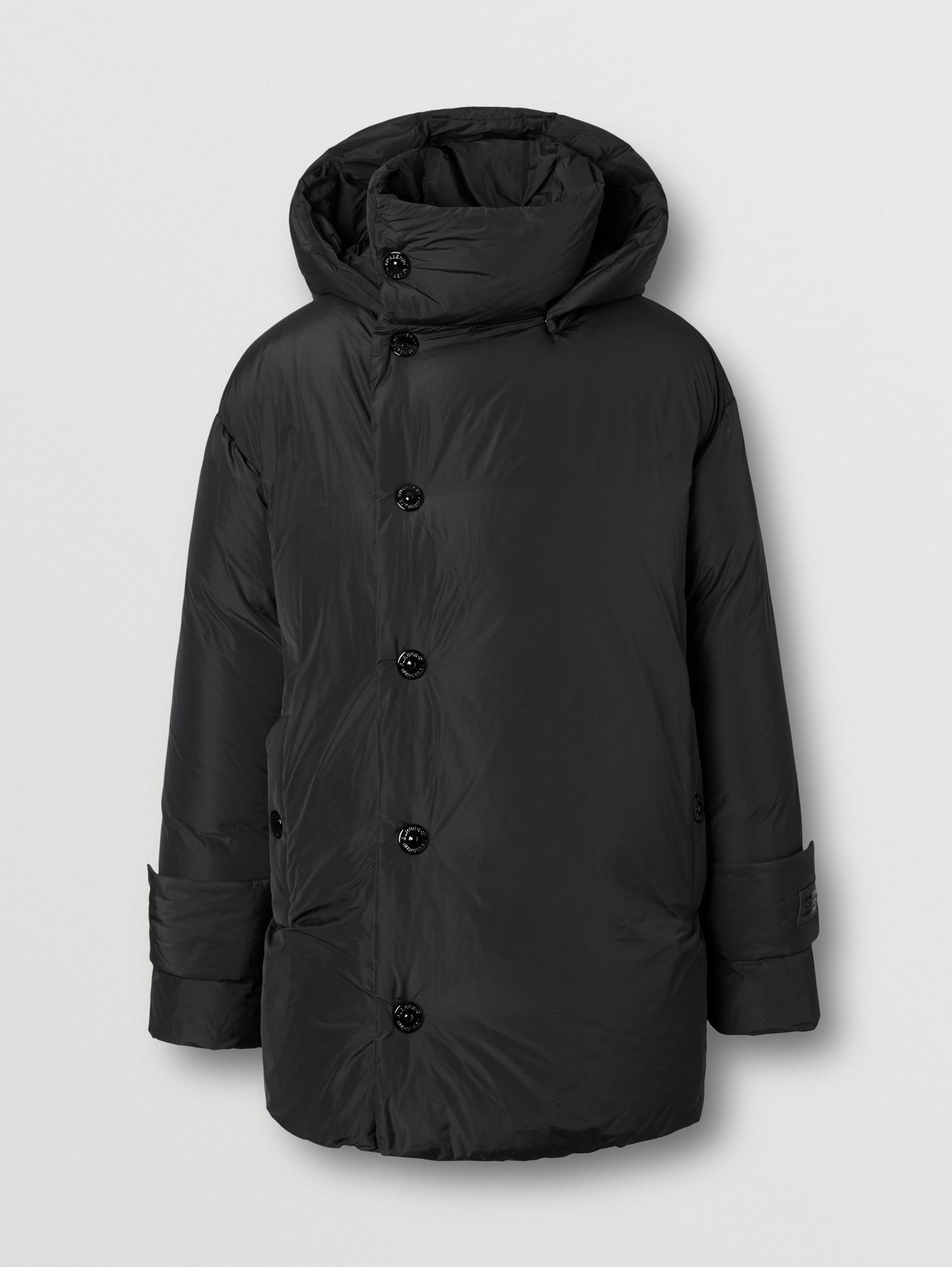 Detachable Hood Down-filled Oversized Wrap Coat in Black