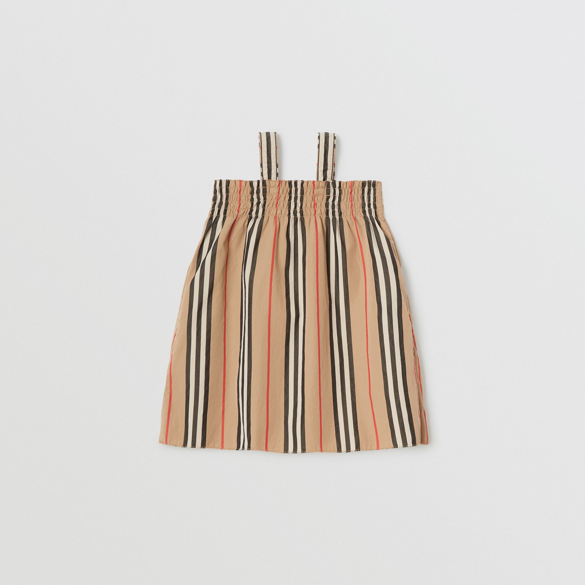 Smocked Icon Stripe Cotton Dress in Archive Beige - Children | Burberry Canada - gallery image 3