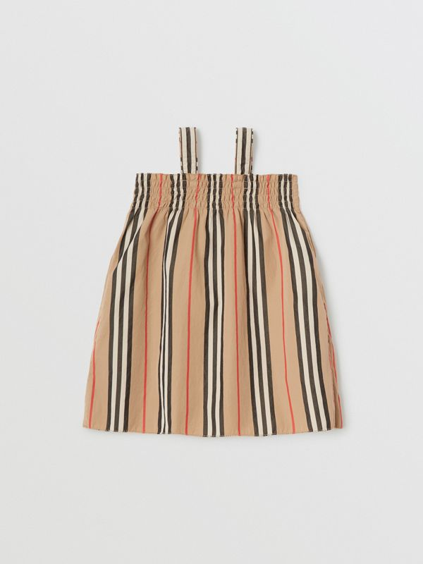 Smocked Icon Stripe Cotton Dress in Archive Beige - Children | Burberry United Kingdom - cell image 3