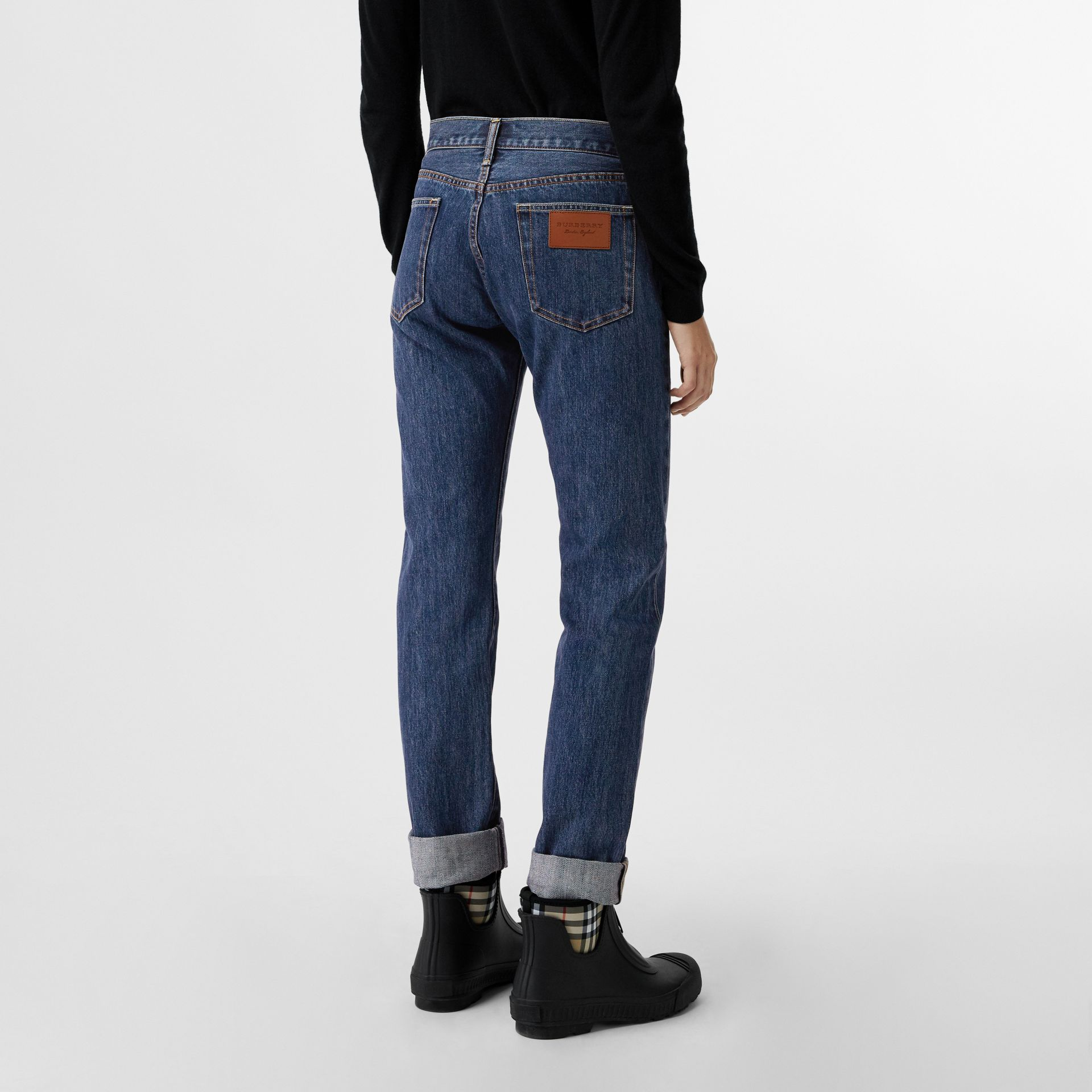 Straight Fit Japanese Selvedge Denim Jeans in Blue - Women | Burberry - gallery image 2
