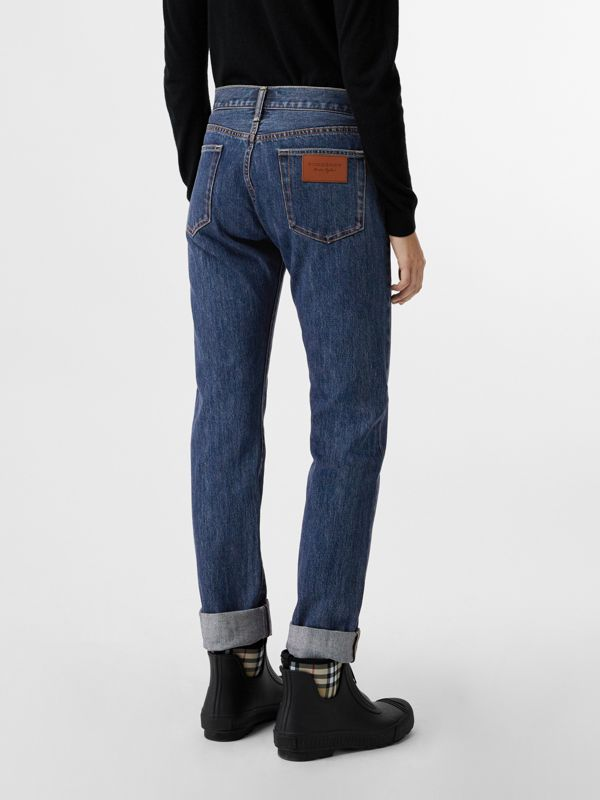 Straight Fit Japanese Selvedge Denim Jeans in Blue - Women | Burberry United Kingdom - cell image 2