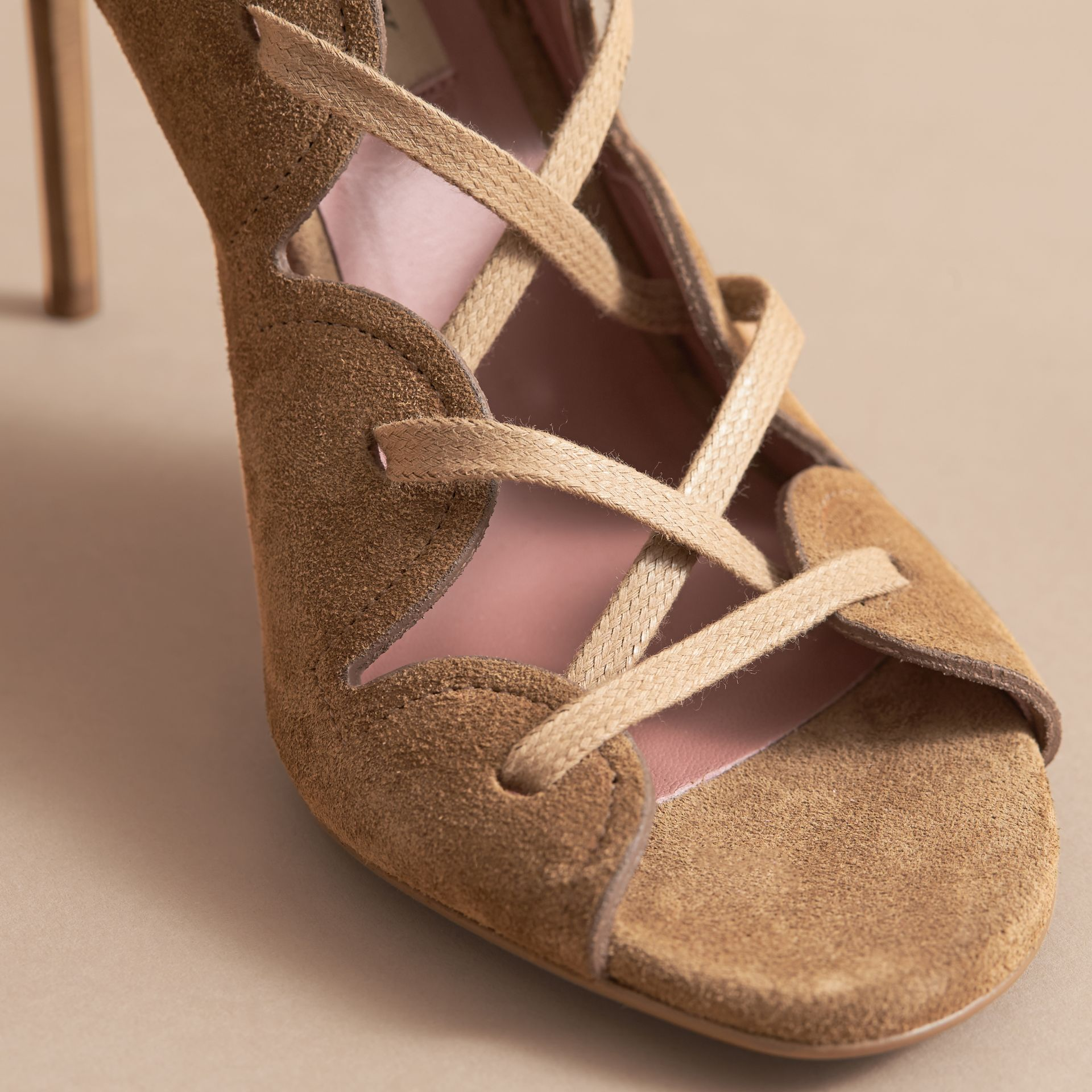 Scalloped Suede Lace-up Sandals in Sandstone - Women | Burberry - gallery image 5