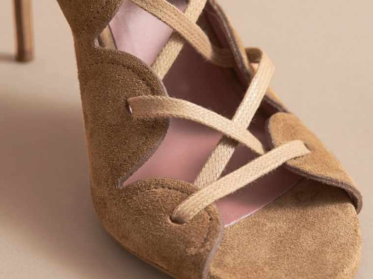 Scalloped Suede Lace-up Sandals in Sandstone - Women | Burberry - cell image 4