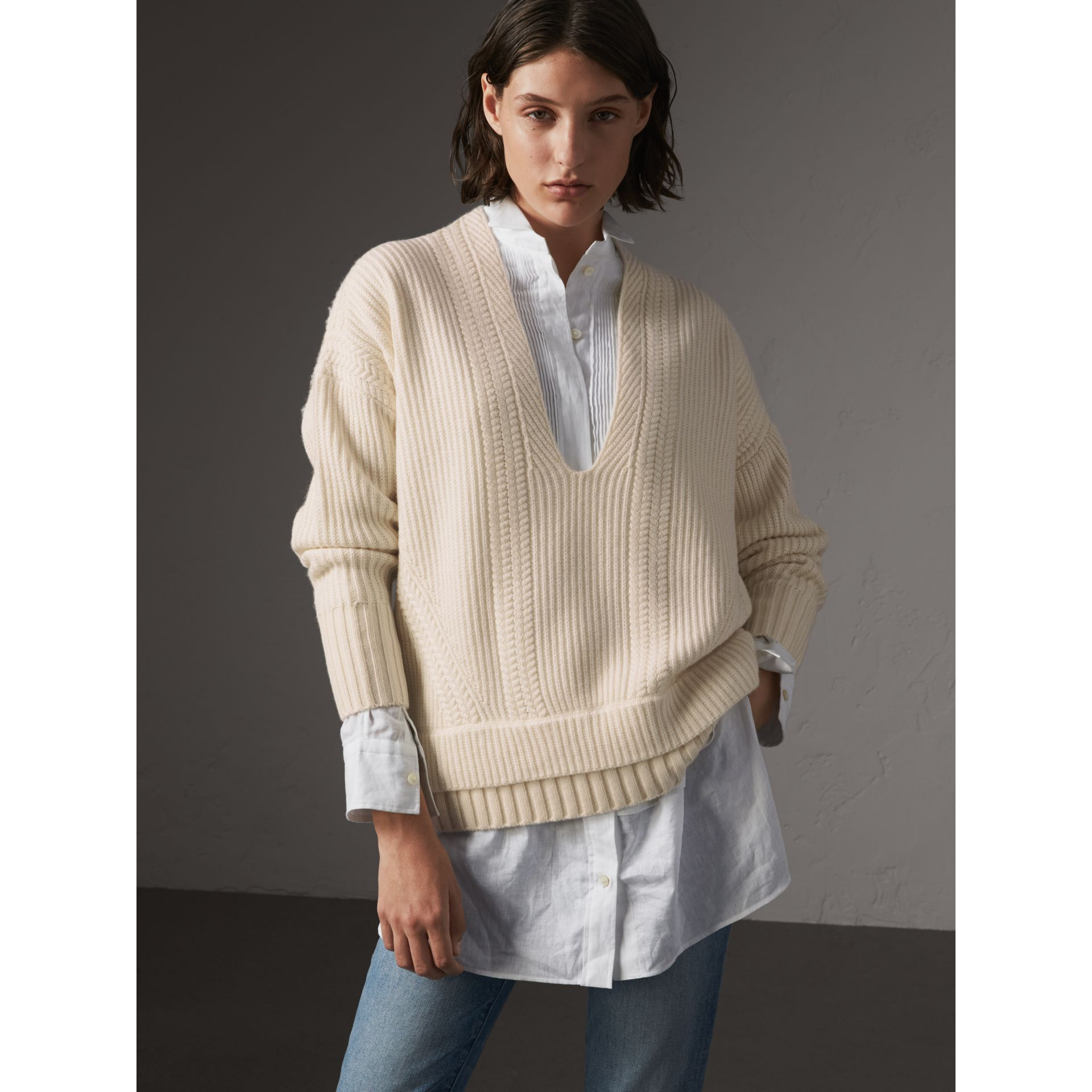 Cut-out V-neck Wool Cashmere Sweater in Natural White - Women | Burberry - gallery image 1