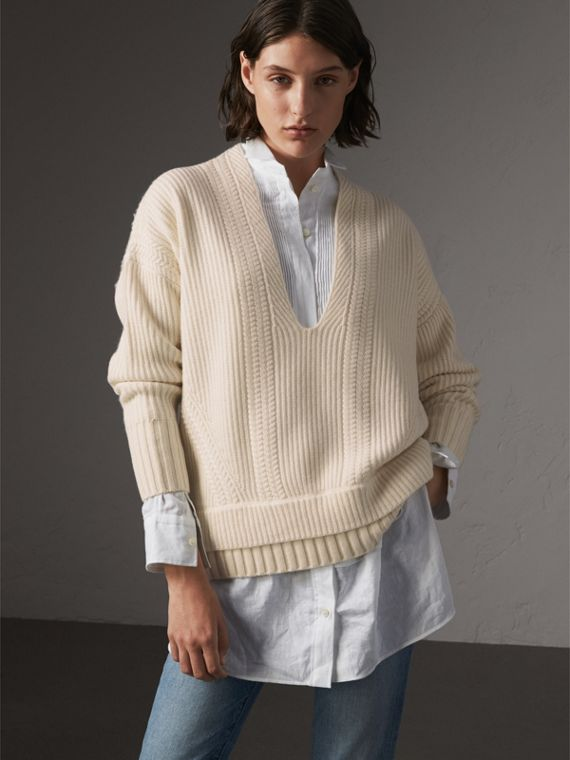 Cut-out V-neck Wool Cashmere Sweater in Natural White