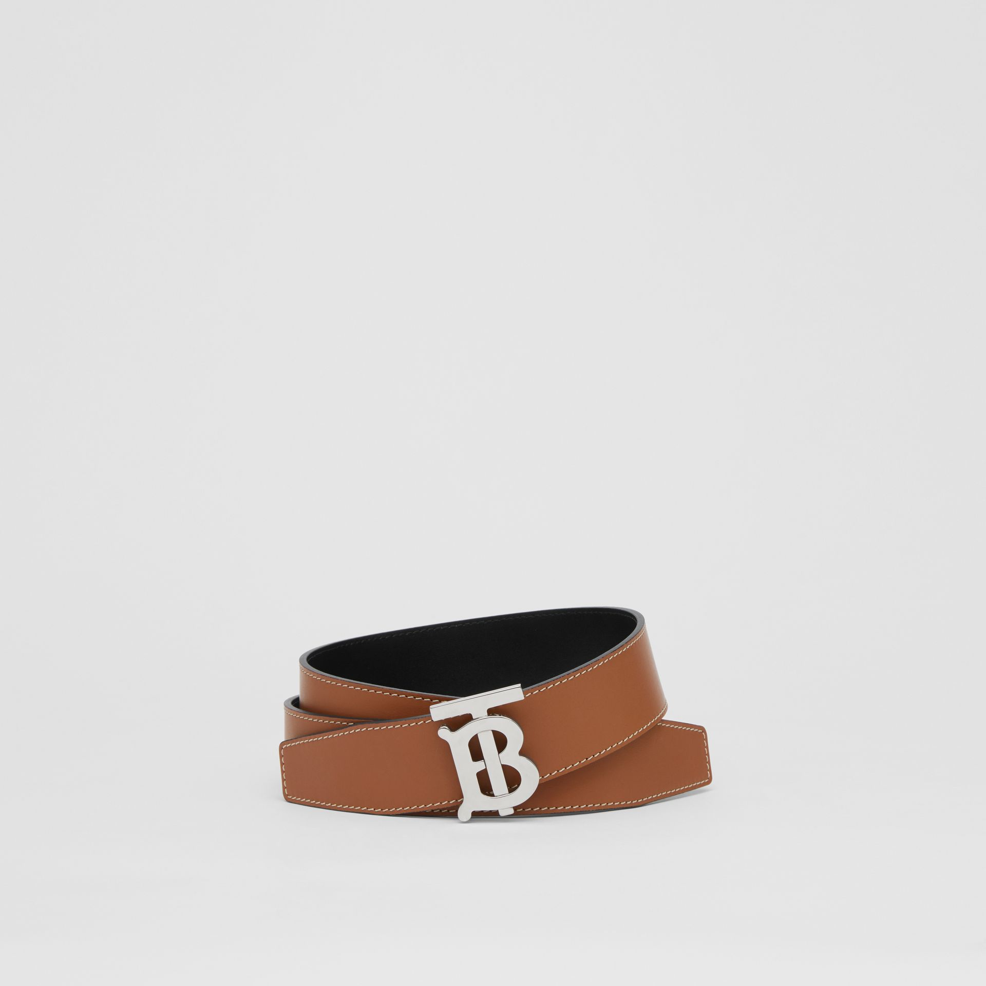 Reversible Monogram Motif Leather Belt in Tan/black - Men | Burberry Australia - gallery image 0