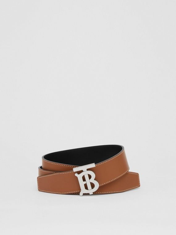 Reversible Monogram Motif Leather Belt in Tan/black