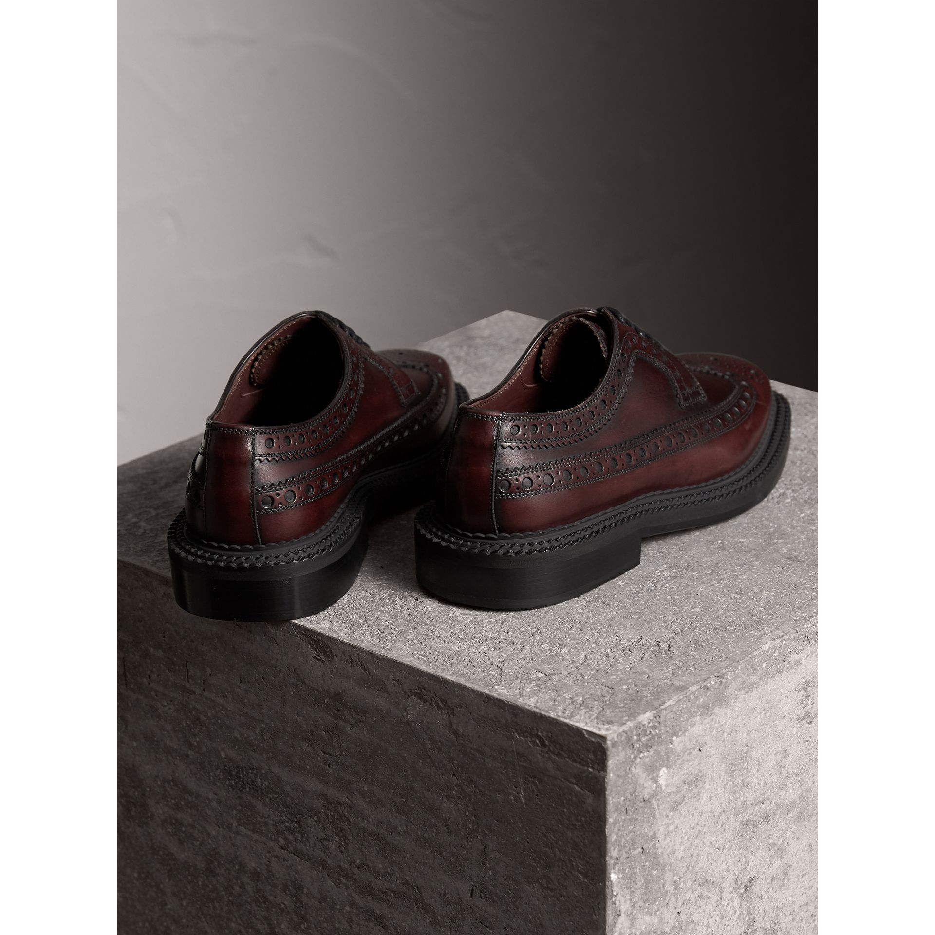 Leather Derby Brogues in Bordeaux - Men | Burberry - gallery image 3