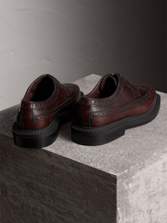 Leather Derby Brogues in Bordeaux - Men | Burberry - cell image 2